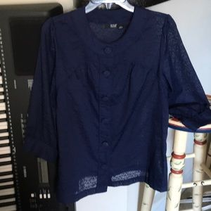 Navy blue sheer patterned blouse by a.n.a. Size L